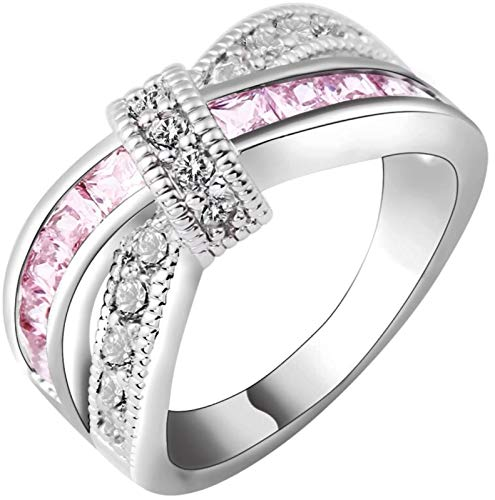 (Breast Cancer Awareness Ribbon Gorgeous Inspirational White & Pink Cubic Zirconium White Gold Ring Sz 5-11 (7))