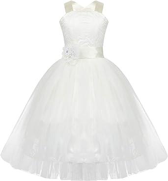 dPois Vestido Ni/ña Blanco de Bautizo Vestido Elegante de Princesa Flor Sin Mangas para Ni/ñas Vestido de Fiesta Cumplea/ños Boda Ceremonia para Ni/ñas 2-14 A/ños