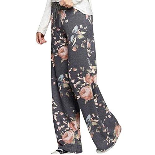 Yoga Elastische Femme Vintage Classique Pantalon Avec Dunkelgrau Taille Élégant Sport Baggy Croisées Femmes Bretelles Spéciale Floral Large Palazzo HtFffS0qw