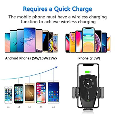 KMI CHOU Phone Holder for Car,Automatic Clamping IR Intelligent Wireless Car Charger Mount - Built-in Capacitor 15W Fast Charging for iPhone Xs Max/XR/X/8/8Plus Samsung S10/S9/S8/Note 8