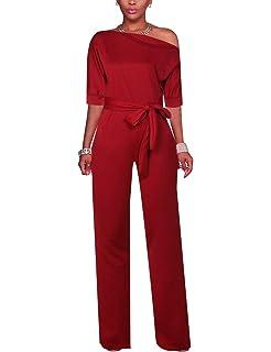 c6834f8ea69d Vilover Women Jumpsuits Off Shoulder Solid Jumpsuits Wide Leg Long Romper  Pants with Belt