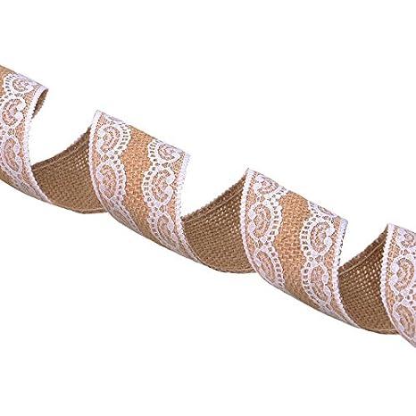 G2PLUS Nastro di iuta naturale con pizzo 5/meters iuta Trim Burlap Fringe nastro per matrimonio a tema vintage//rustico Craft