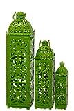 Benzara Beautifully Carved Traditional Metal Lanterns, Green, Set of 3