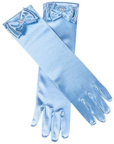 Girls Princess Dress Gloves Stretch Full Finger for Pageant Wedding Party Sky Blue ()