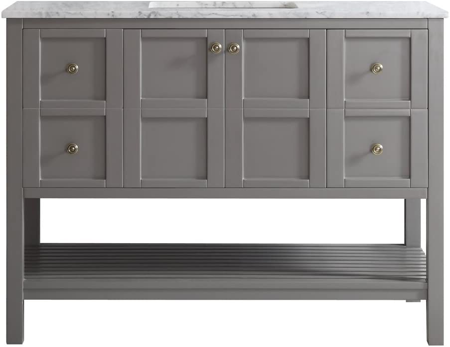 Vinnova 713048-GR-CA-NM Florence 48 Single Vanity in Grey with Carrera White Marble Top without Mirror, Inch