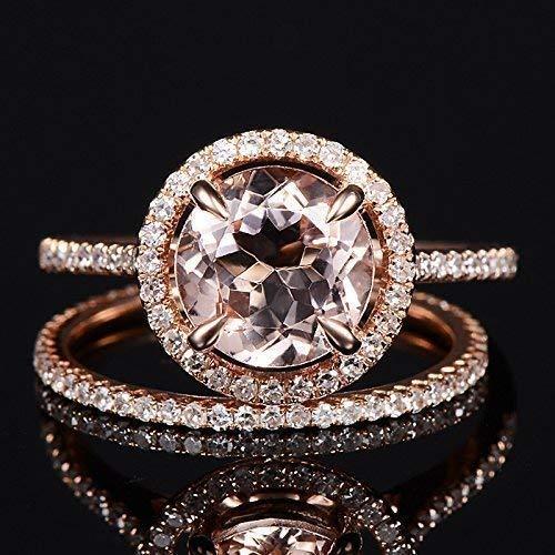 Morganite Wedding Set.Amazon Com Morganite Wedding Sets Morganite Engagement Ring Rose