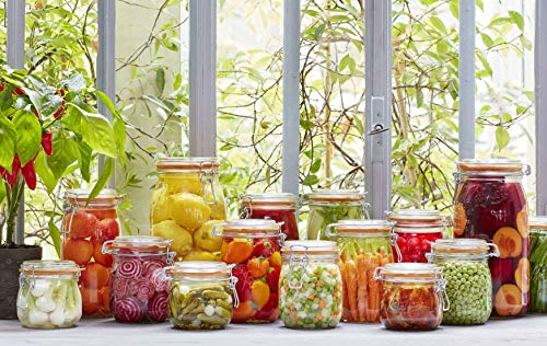 4 Le Parfait Super Jars - New Stainless Steel Wire - Wide Mouth French Glass Preserving Jars with Round Bodies, Glass Lids and Natural Rubber Seals - Zero Waste Packaging (4, 1000ml - 32oz - SS) by Le Parfait (Image #1)
