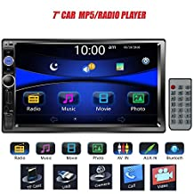 "Regetek 7"" Double DIN Touchscreen In Dash Bluetooth Car Stereo Mp3 Audio 1080P Video Player FM Radio/ AM radio + Remote Control + Support TF/ USB/ AUX-in/Rear View Camera"
