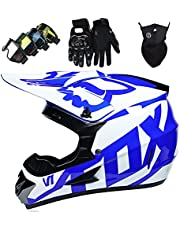 Motocross Helmet Set, Kids Adults Dirt Bike Electric Motorbike Helmets with Goggles Gloves Mask Unisex Full Face Motorcycle Helmet for MTB ATV Off Road - with Fox Design - TGF-01 - White Blue