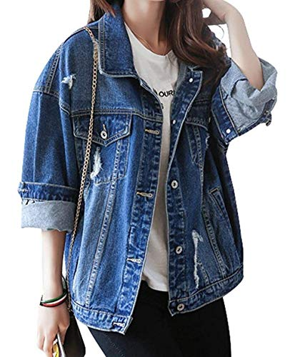 Giacca Autunno Casual Donna Style Blu Stile Ragazze Streetwear Tendenza Jeans Relaxed Blau Primaverile Moda Lunghe Maniche Cappotto Outwear Bavero Giovane 01 Festa Elegante dYX5wq
