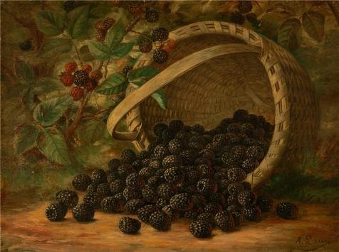 The High Quality Polyster Canvas Of Oil Painting 'August Laux,Blackberries,1880' ,size: 18x24 Inch / 46x61 Cm ,this High Quality Art Decorative Prints On Canvas Is Fit For Kids Room Artwork And Home Artwork And Gifts (Outdoor Furniture Tampa Bay Area)