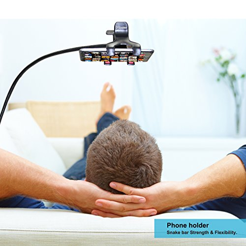 Phone Holder, Costech Heavy Duty Metal Gooseneck Long Arm Fashion Flexible Stand Lazy Bracket 360-degree Rotating Mount Clip on Holder for Iphone, Samsung, and More Other Mobile Phone (Black) by Costech (Image #5)