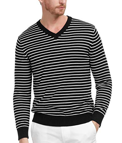 Men's Classic V-Neck Pullover Sweaters Long Sleeve Striped Sweater(Black, Size S)