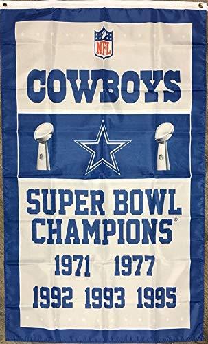 Dallas Cowboys Super Bowl Champions Banner Flag 3x5 1971, 1977,1992, 1993, - 1992 Cowboys Bowl Dallas Super