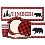 Buffalo Plaid Party Supplies for 16
