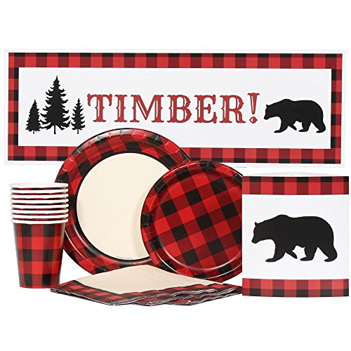Buffalo Plaid Party Supplies for 16 by Birthday Direct