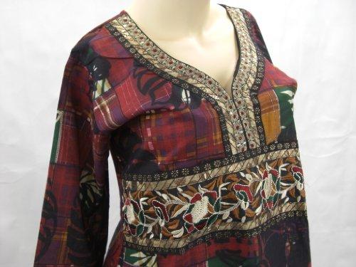 Top Ärmel und Kleid Goethnic Spitze bestickt lange bedruckt Bunt mit verziert Batikdruck Handarbeit Kurti UqWgSd