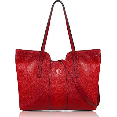 Genuine Leather Organized Tote Handbag - YOLANDO Women Genuine Leather Zipper Tote Bag Top-handle Handbags Large Capacity Ladies' Purse YTG01 (Red)