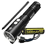 Nitecore DL10 1000 Lumen White/Red LED 30m Submersible Diving Flashlight Plus High Capacity 3400mAh USB Rechargeable Battery & Lumen Tactical Charging Cable