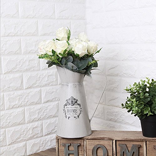 APSOONSELL French Style Shabby Chic Large Metal Pitcher Flower Vase Primative Jug ()