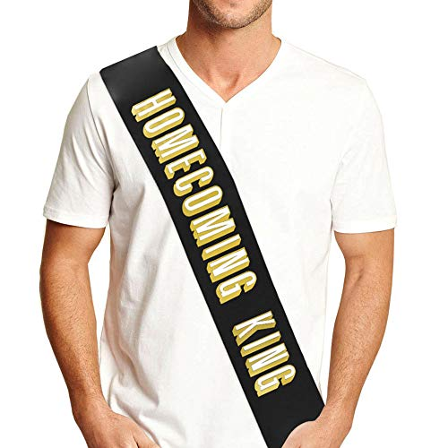 Homecoming King Satin Sash - white & metallic gold Homecoming Decorations- Black