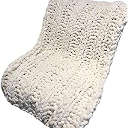 Chunky Knit Chenille Blanket,Chunky Chenille Yarn,Arm Knit Cream White Blanket,Giant Knit,Giant Knit Throw,71x71in