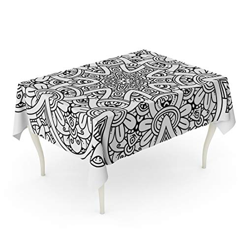 Tinmun Waterproof Tablecloth 52 x 70 Inches Adult Black and White Mandala Coloring Pages Book Nouveau Decorative Rectangular Tabletop Cover for Outdoor Indoor Use