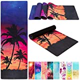 Solasta Natural Suede Yoga Mats - Luxury Eco Friendly Anti Slip Thick Yoga Mat 4MM Ideal For Hot Yoga, Bikram, General Workouts - Hot Yoga Mat w/Strap (Palm Vibes)