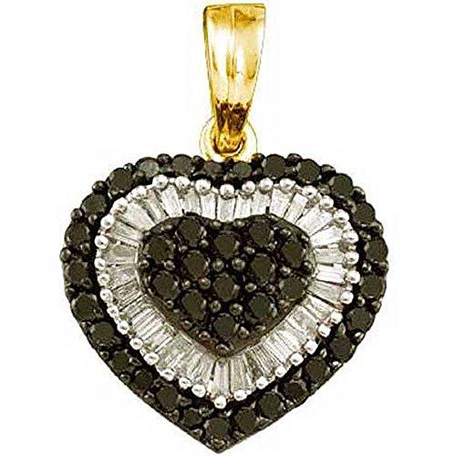 1.09 Ct Heart (1.09 Carat (ctw) 14k Yellow Gold Black & White Diamond Ladies Heart Pendant)