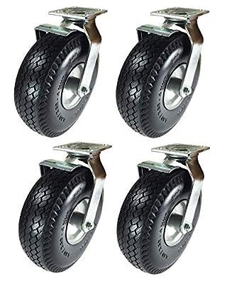 """Pneumatic Wheel Caster 10"""" x 3-1/2"""" Rigid Swivels with Brake (Foam-Flat Free)"""