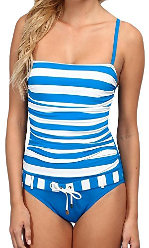 Bleu by Rod Beattie One Piece Swimsuit Underwire Bra Striped Belted Front Ruched Printed Maillot 4, (Belted Maillot)
