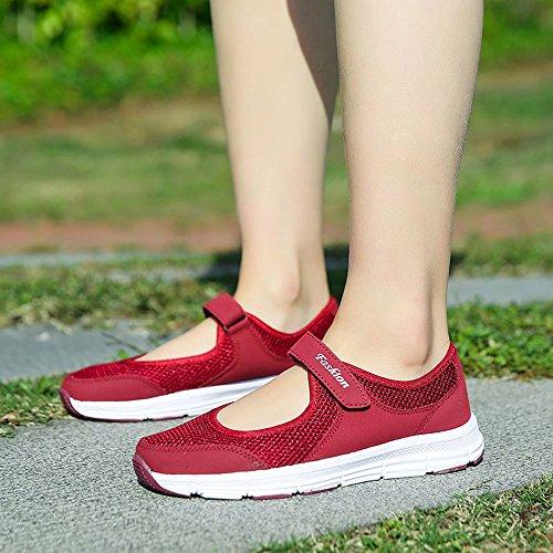 basse Sandali donna Rosso donna donna estate eleganti Scarpe corsa estive Basse Ginnastica beautyjourney scarpe scarpe da Scarpe sandali donna Sportive da sneakers wgPqnI0