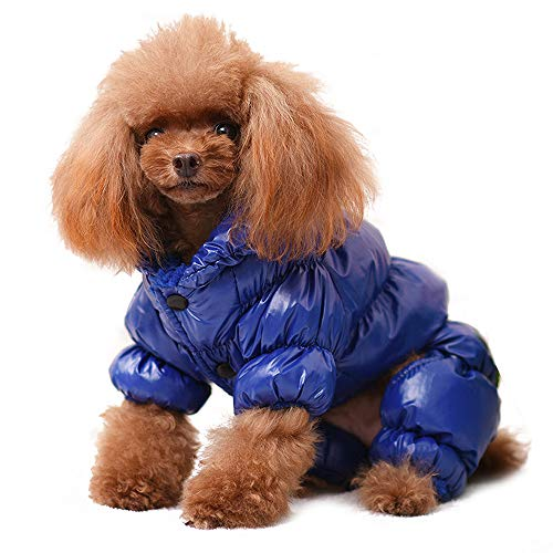 (PET ARTIST Winter Puppy Dog Coats for Small Dogs,Cute Warm Fleece Padded Pet Clothes Apparel Clothing for Chihuahua Poodles French Bulldog Pomeranian Blue Chest:14.5'' )