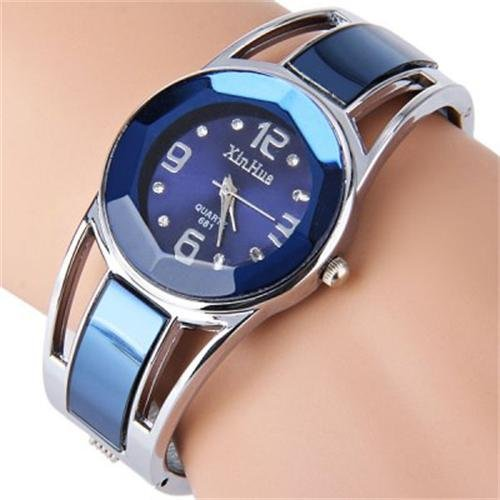 Price comparison product image ELEOPTION Bracelet Design Quartz Watch with Rhinestone Dial Stainless Steel Band Free women's Watch Box (XINHUA-Jewelry Blue)
