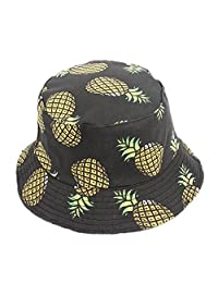 BIBITIME Printed Pineapple Bucket Hat for Women Summer Hawaii Beach Sunhat Visor