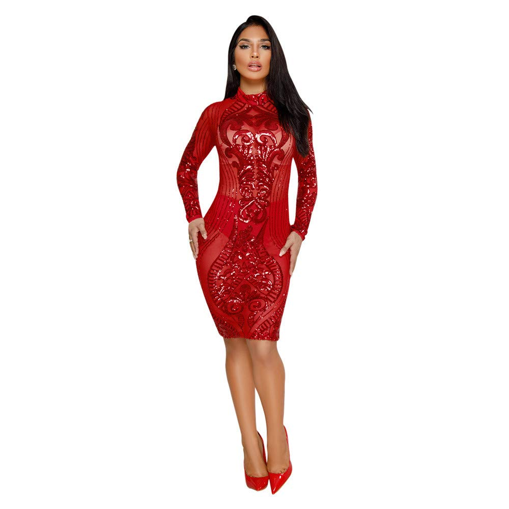 Red Elegant Women's Dress Womens Sparkly Sequin Dress Floral High Neck Long Sleeve Sheer Mesh Bodycon Stretchy Party Midi Dress Cocktail Evening Clubwear Dress Women's Dress Bodikon Dress