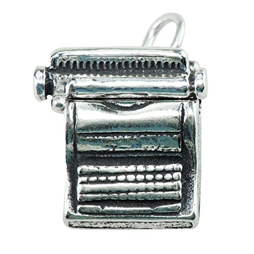 925 Sterling Silver Classic Vintage Letter Typewriter Charm Pendant ()