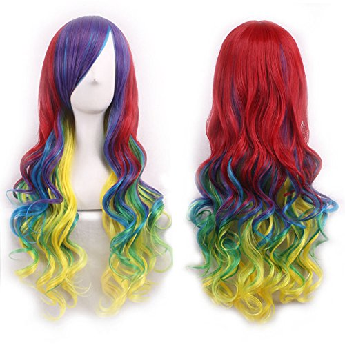 Aneshe 27 5 Long Rainbow Big Wavy Curly Hair Harajuku Style Lolita Cosplay Colorful Wigs For Women Rainbow Color Buy Online In Aruba At Desertcart