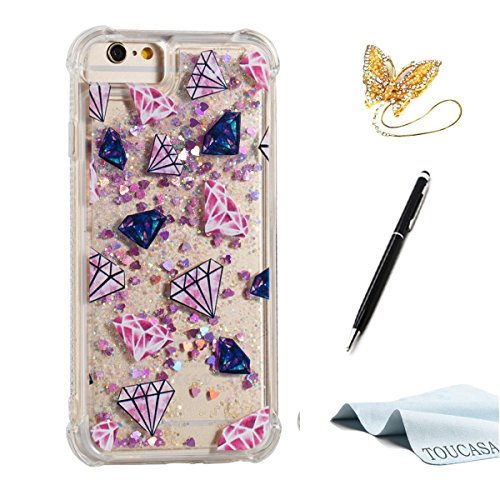a50683f30a4 Nuevo Funda iPhone 6S,Funda iPhone 6,TOUCASA® Glitter Brillante Liquida  Transparente TPU