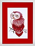 Red Velvet Owl - Modern Paper Quilled Wall Art for Home Decor (one of a kind paper quilling handcrafted piece made with love by an artist in California)