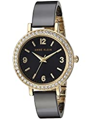 Anne Klein Womens AK/2348BKDB Swarovski Crystal Accented Gold-Tone and Black Ceramic Bangle Watch
