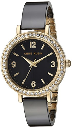 (Anne Klein Women's Swarovski Crystal Accented Gold-Tone and Black Ceramic Bangle Watch)