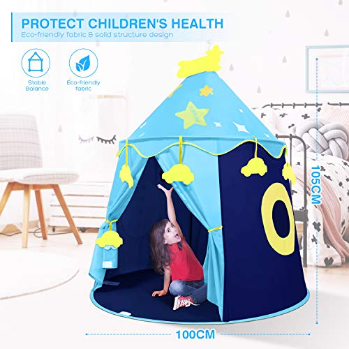 Peradix Kids Pop Up Ball Pit Play Tent, Castle Prince Boys Girls Play Tent Playhouse With Target and 3 Sticky Balls Toys Game for Indoor /Outdoor-Blue