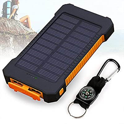 Foreverrise 10000mAh Solar Charger Dual USB Battery Pack Portable Phone Solar Power Bank Waterproof Battery Charger with LED Light and Carabiner with Compass Pack for Most USB Devices(Orange) from Foreverrise