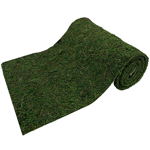 FUNFLO Roll of Moss Table Runner for Woodland Wedding Decor, Green (12