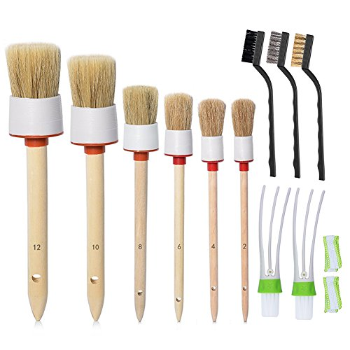 COCODE 11Pcs Auto Detailing Brush Set for Cleaning Wheels, Interior, Exterior, Leather, Including 6pcs Natural Boar Hair Detail Brush, 2pcs Automotive Air Conditioner Cleaner Brush and 3pcs Wire Brush - Auto Brush