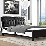 Amolife Queen Size Platform Bed Frame with Curved Headboard and Wood Slat Support, Deluxe Upholstered Modern Bed Frame, Faux Leather Mattress Foundation, Black and White