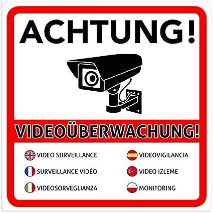 2 Stück Achtung Videoüberwachung Premium Aufkleber Schild Sticker Hinweisschild Warnschild Für Mit Kamera Videoüberwachtes Objekt Haus