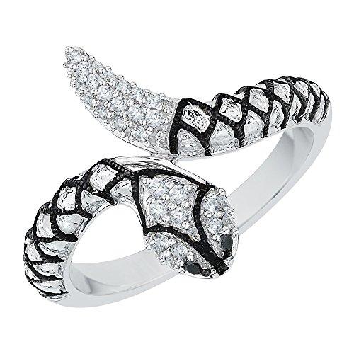 Gold Diamond Snake Ring - KATARINA Black and White Diamond Snake Fashion Ring in 10K White Gold (1/6 cttw) (Color-GH, Clarity-I2/I3)