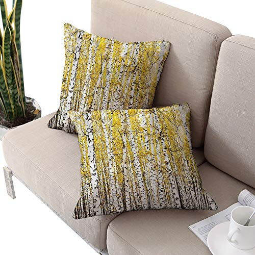 Michaeal Forest Square futon Cushion Cover,Autumn Birch Forest Golden Leaves Woodland October Seasonal Nature Picture Print Yellow Grey W14 xL14 2pcs Cushion Cases Pillowcases for Sofa Bedroom - Cover Madrid Futon